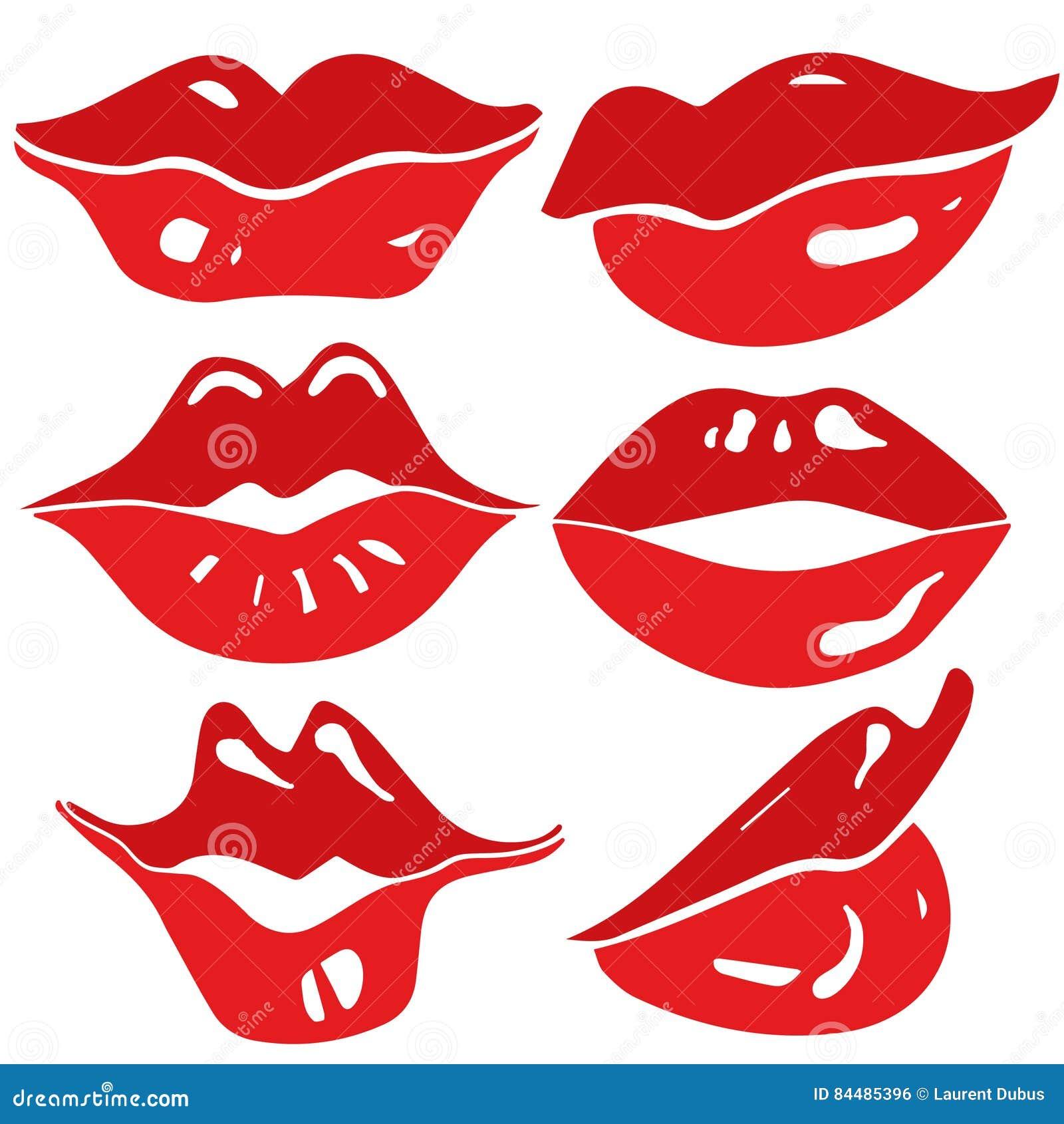 female lips set - vector
