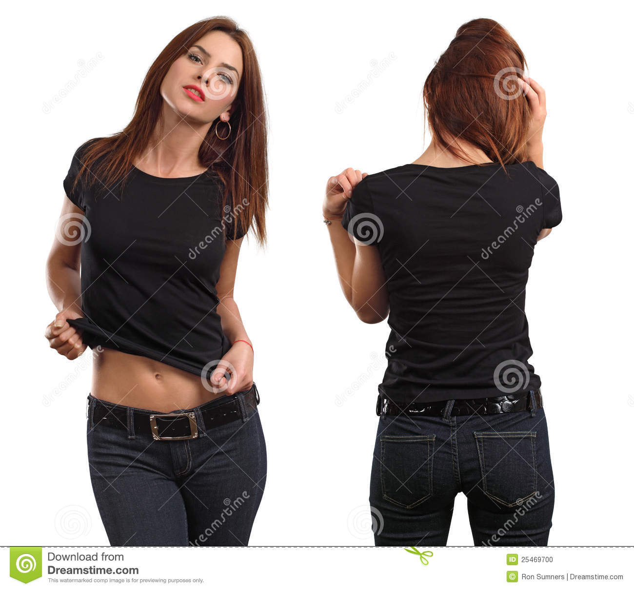 Young beautiful brunette female with blank black shirt, front and back ...