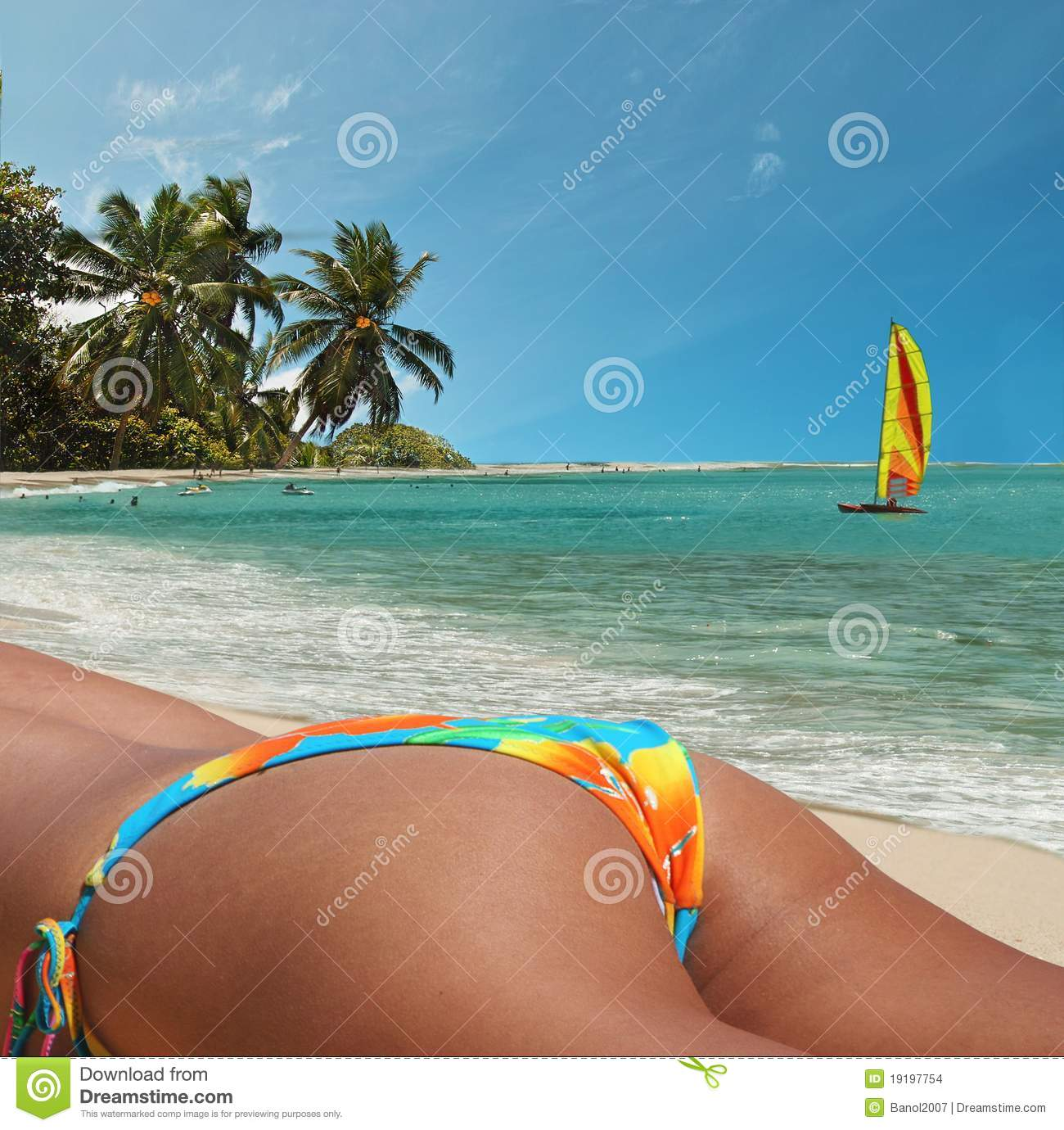 Woman With Beautiful Body In Bikini At Beach Stock Image: Girl On Beach. Colorful Tropical Vacation. Stock Photo