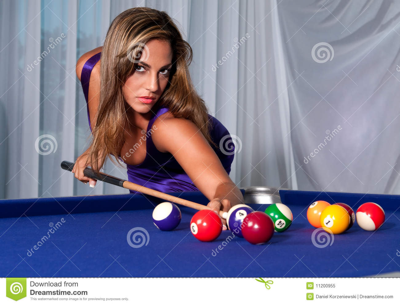 Girl In The Billiard Stock Image Image Of Pool Activity