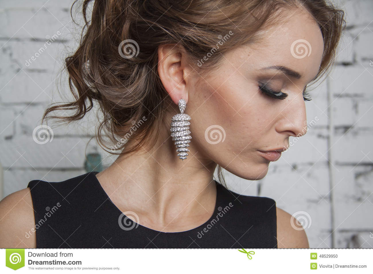 Girl In Black Gown And Luxury Earrings Stock Photo Image Of