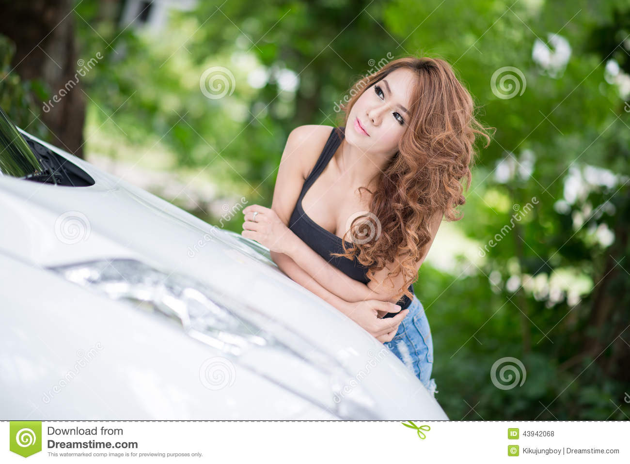 Free sexy girls in hood Girl In Black Vest Is Posing On Hood Car Stock Photo Image Of Cheerful Charming 43942068