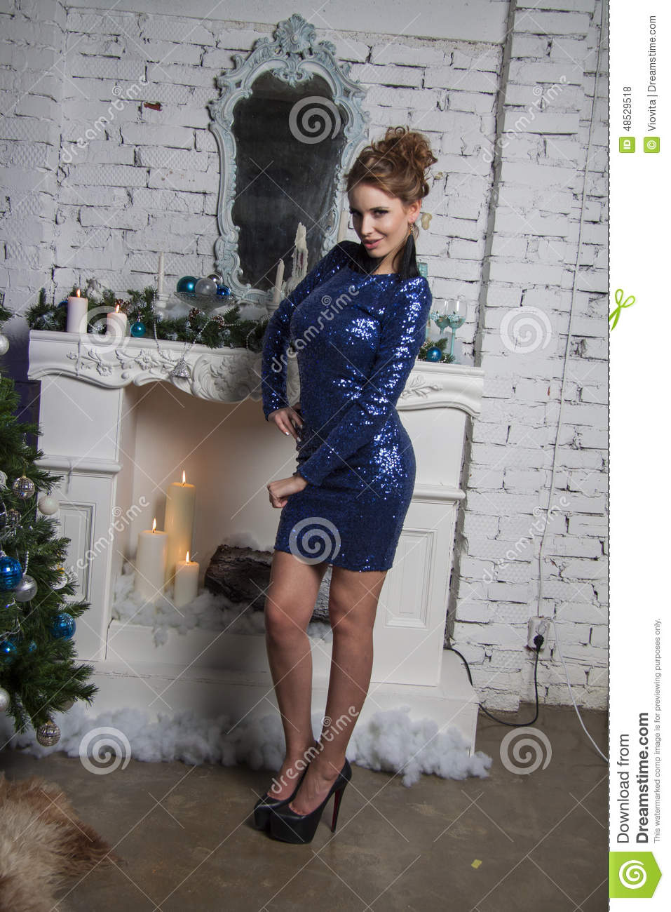 Girl In Blue Gown And Luxury Earrings Stock Photo Image Of