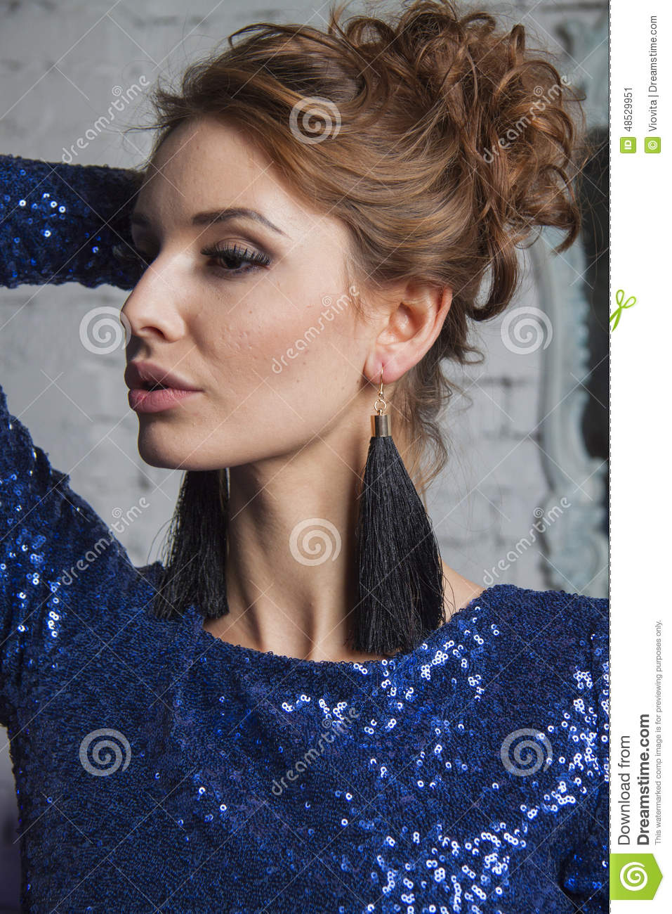 Girl In Blue Gown And Luxury Earrings Stock Image Image Of Beauty