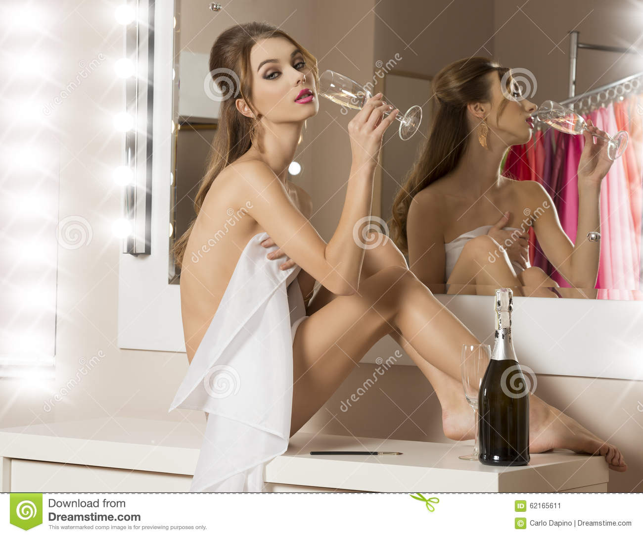 naked girl with champagne