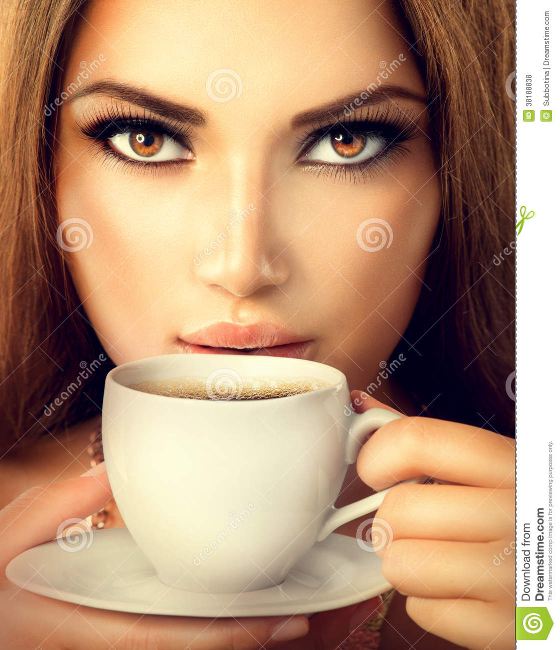 Sexy Woman Drinking Tea Or Coffee Royalty Free Stock