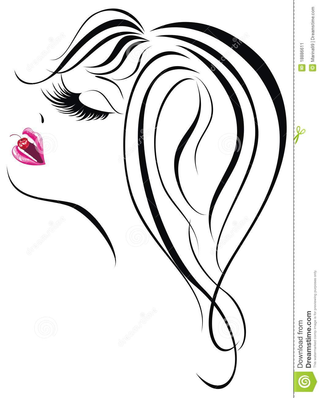 Beautiful Face Line Drawing : Girl face vector illustration stock image