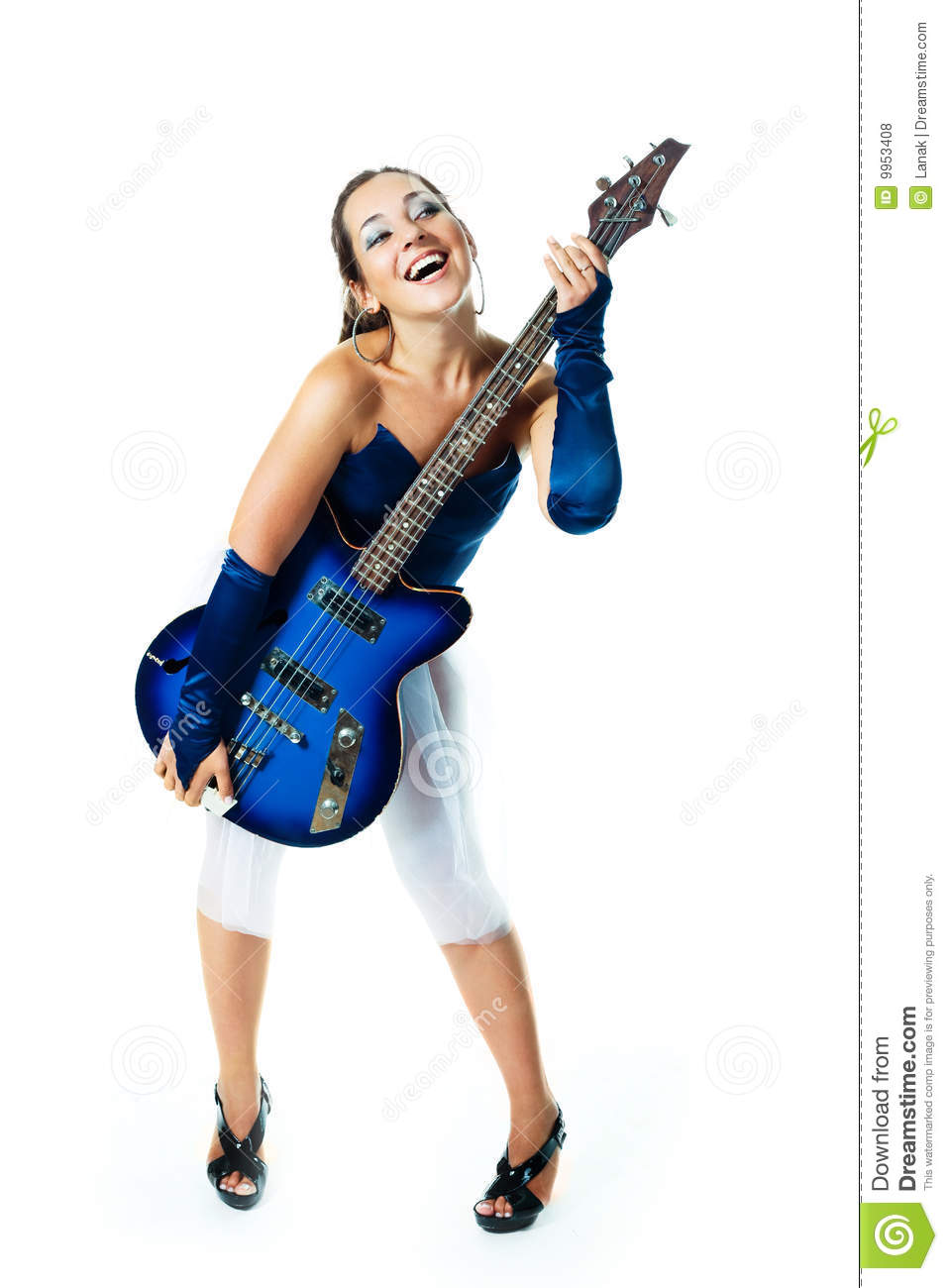 girl with a guitar stock photo  image of long  electric