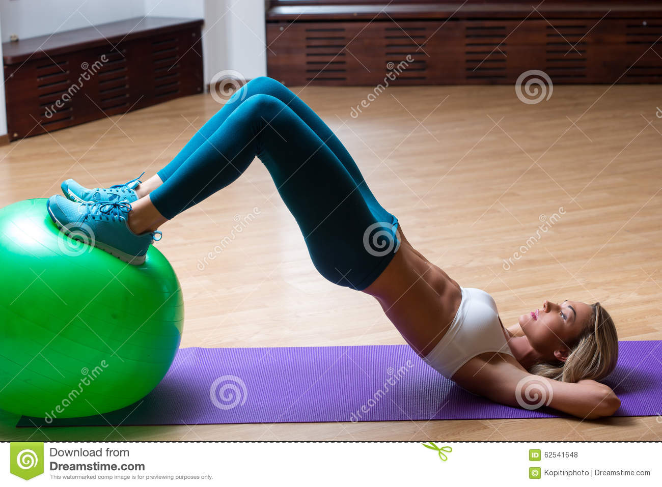 Girl In A Gym Doing Yoga On The Ball Stock Photo - Image -8510