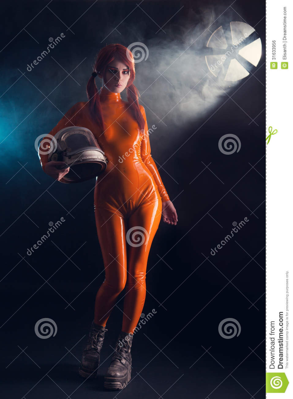 girl in latex catsuit, sci-fi theme