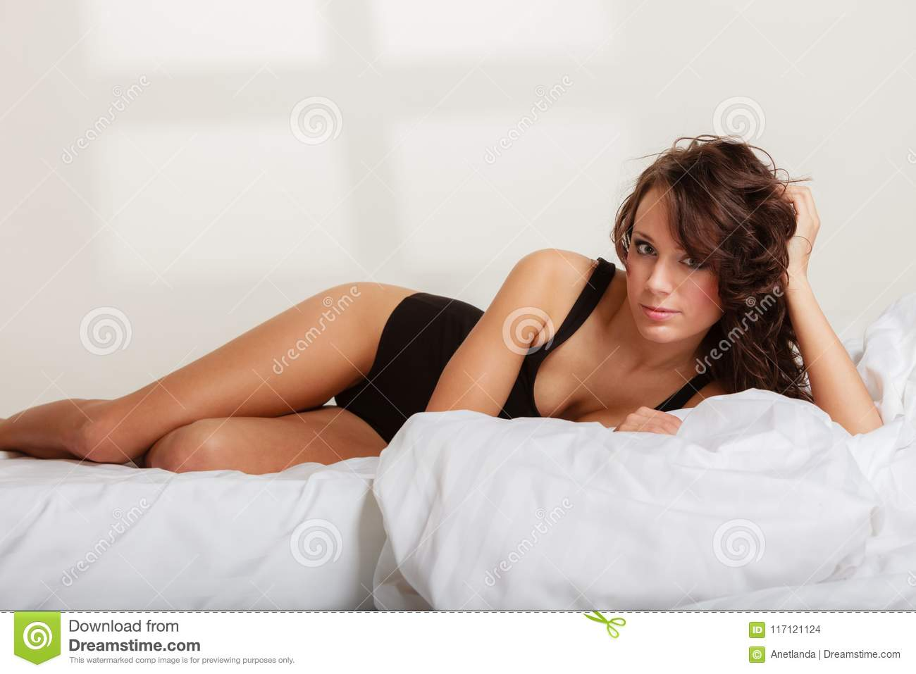 Remarkable Girl Lazy Woman In Underwear Lying On The Bed Stock Photo Uwap Interior Chair Design Uwaporg