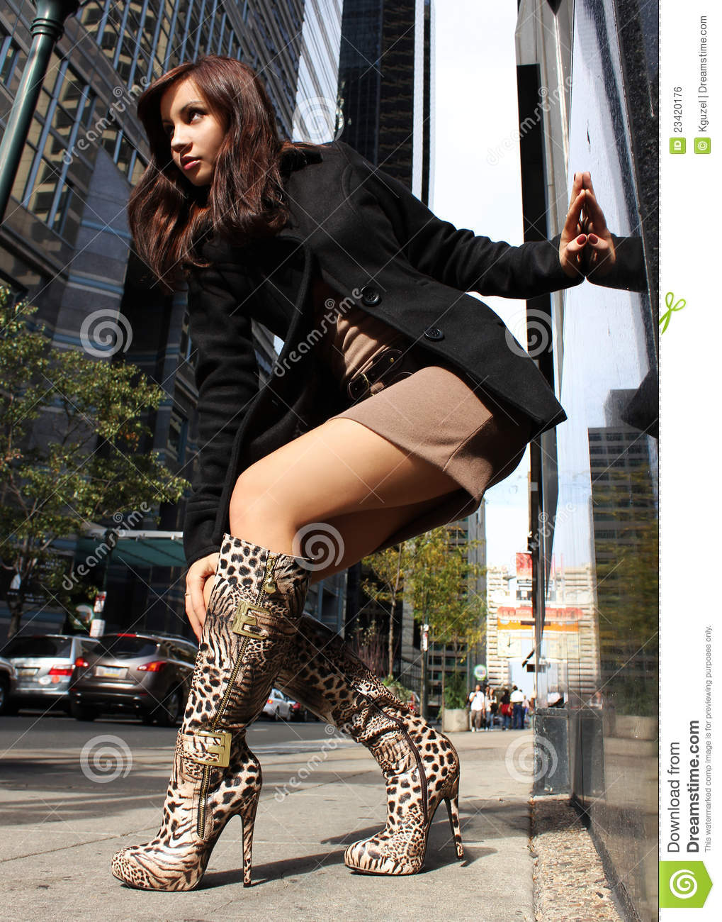 Girl In Leopard Boots Stock Photo Image Of America, Human -9447