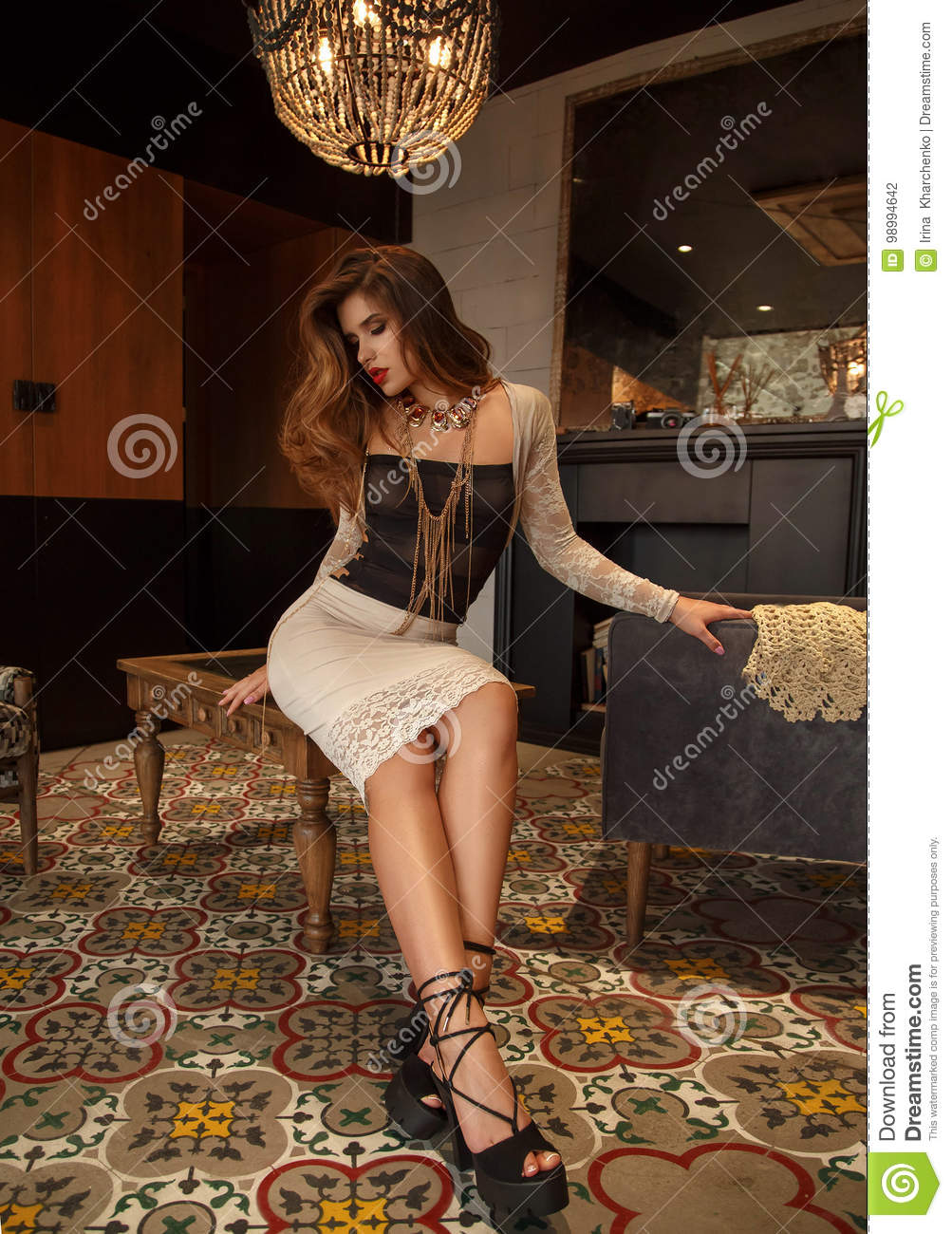 girl in a luxurious interior