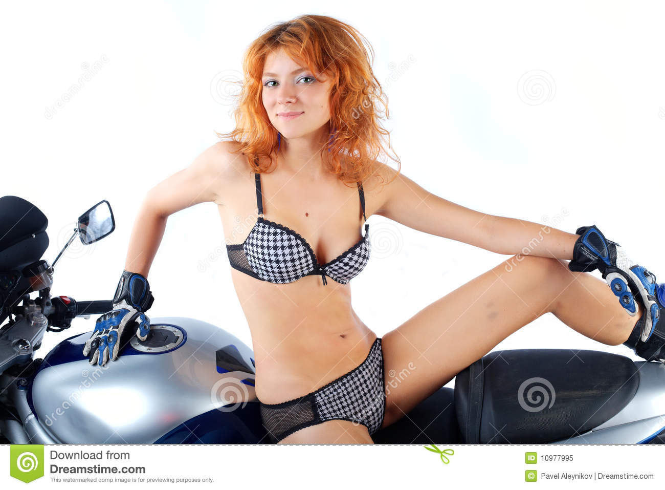 Girl With Motorcycle On White Stock Image - Image: 10977995