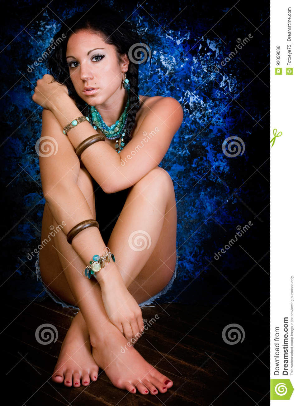 Girl Native American Indian Woman With Braids Stock Photo Image