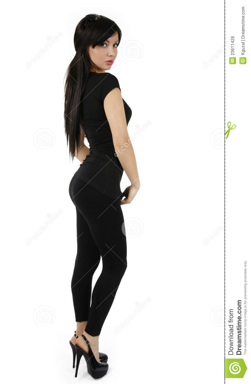 girl with perfect figure in black royalty free stock image