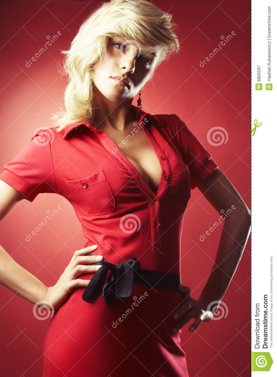 girl in red blouse