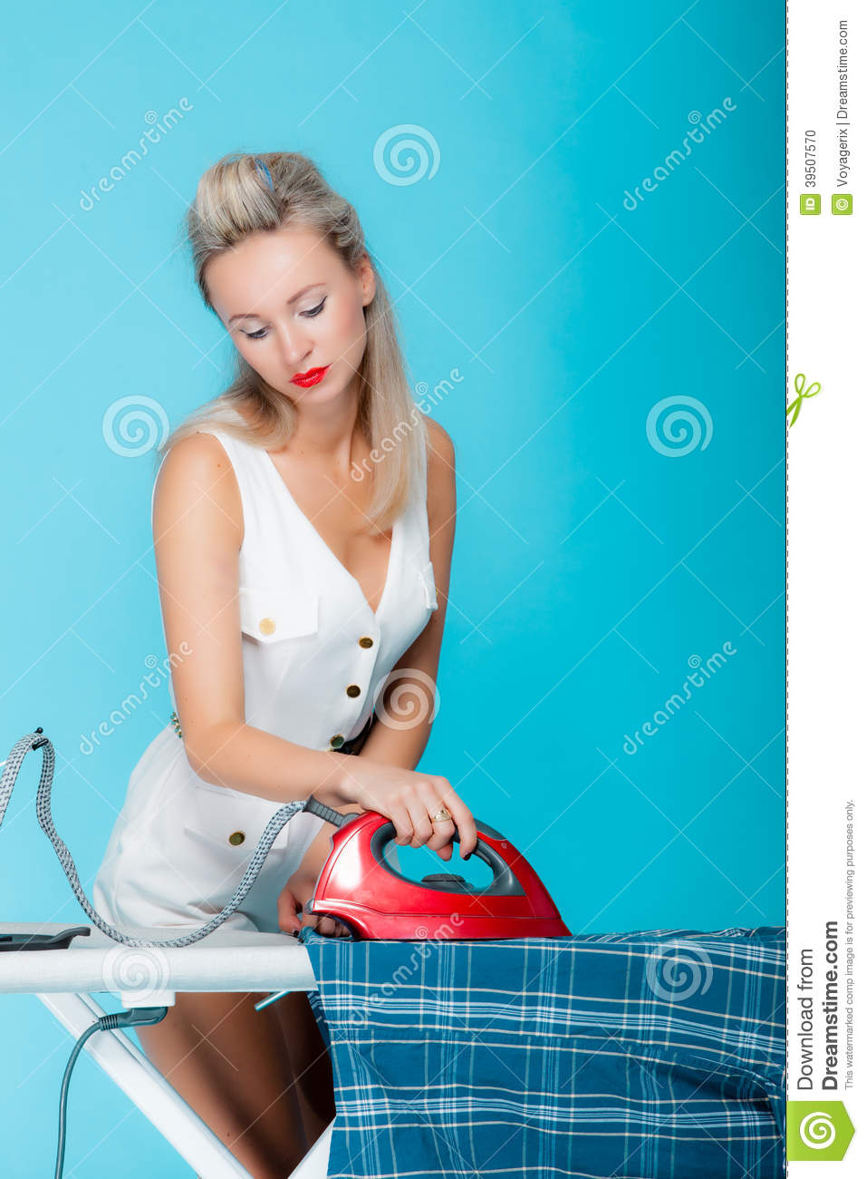 girl retro style ironing male shirt, woman housewife in domestic role.
