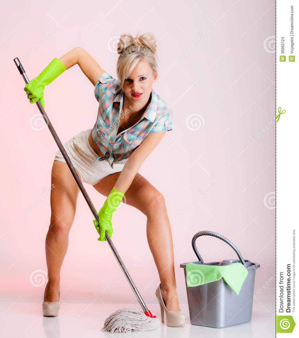 Girl Retro Style Woman Housewife Cleaner With Mop Stock