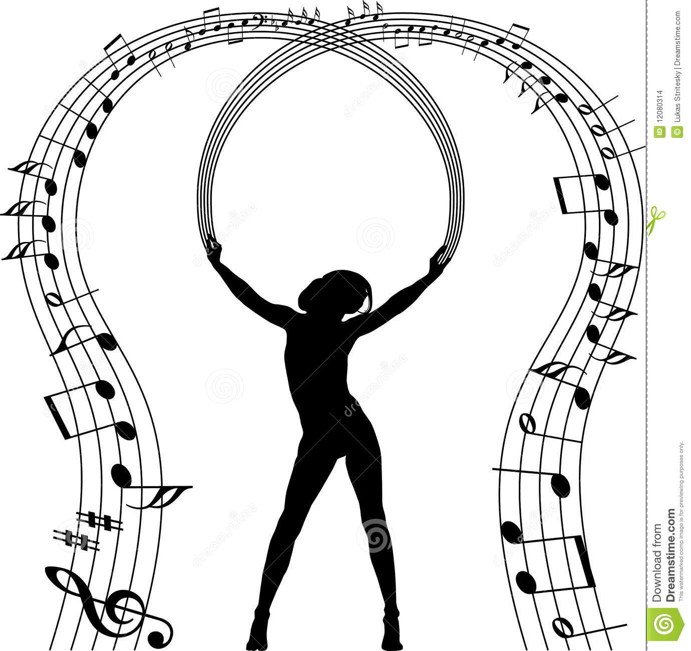silhouette with music notes stock images image 12080314