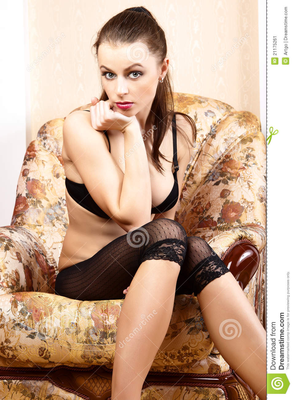 Hot girl sitting in chair your place