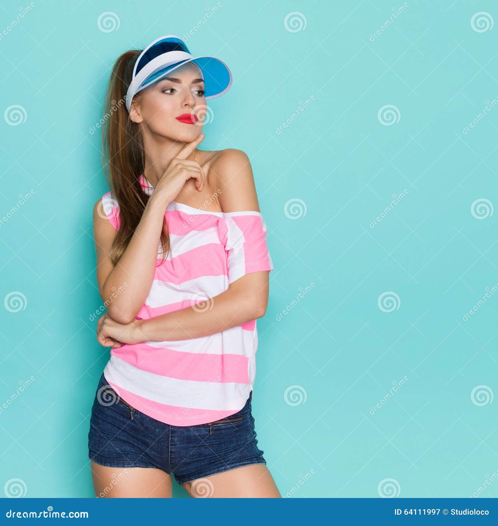649c004c21da61 Girl In Sun Visor Cap stock image. Image of quarter