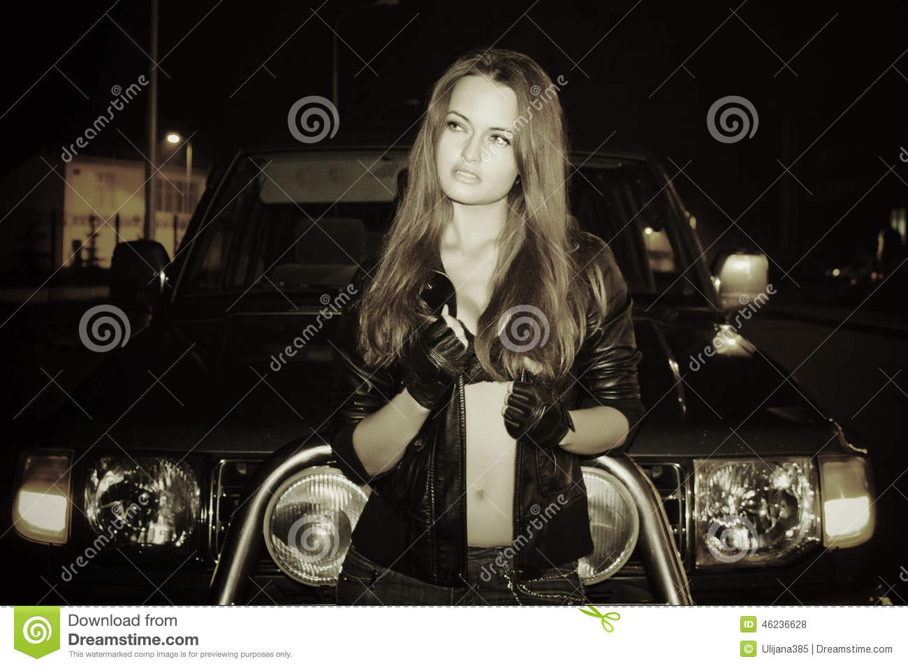 Driving gloves girl - Sexy Girl And Suv Royalty Free Stock Photos
