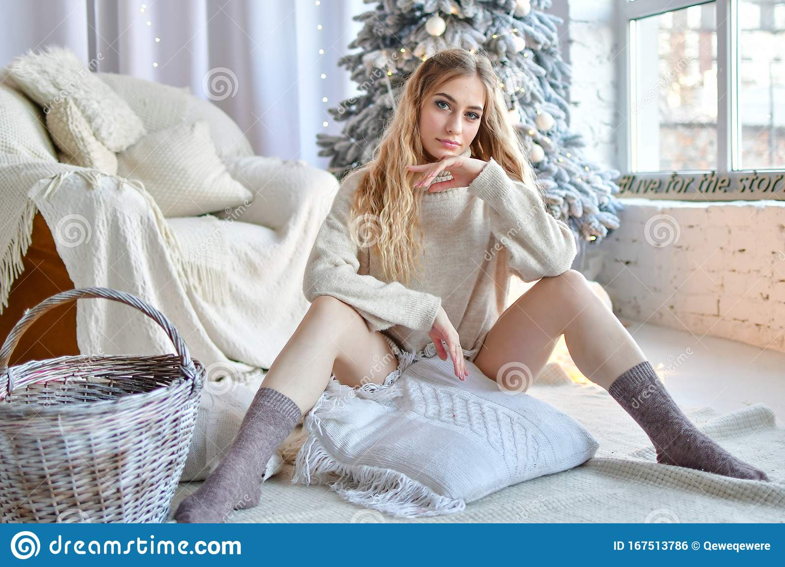 Merry christmas naked girl Girl In Sweatshirt And Panties In Front Of Her Christmas Tree Legs In Stockings And Laughs Stock Photo Image Of Naked Merry 167513786