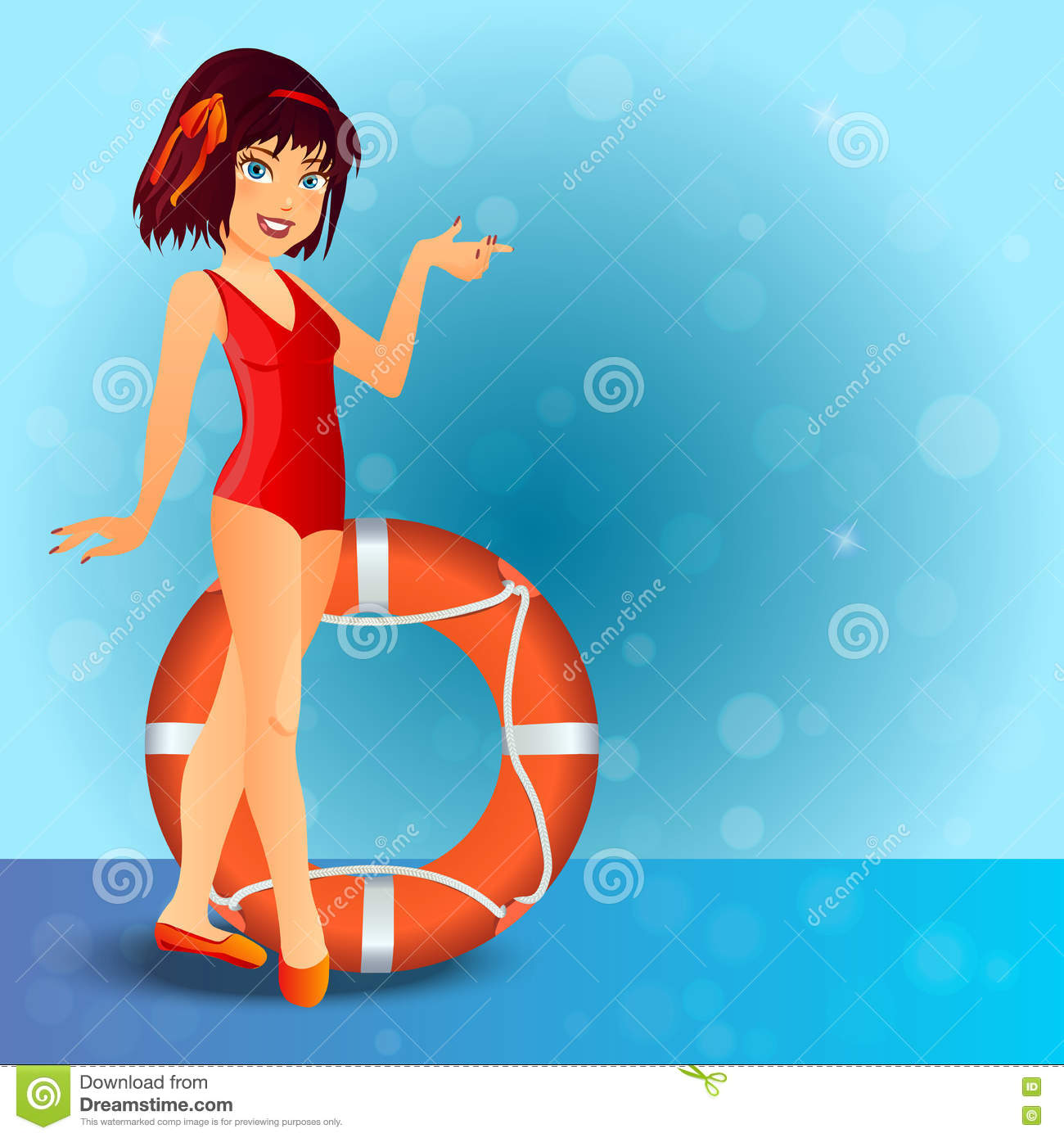 Vintage Pinup Girl Wearing Bathing Suit At The Ocean Stock: Cute Girl Cartoon Wearing Swimsuit Vector Illustration
