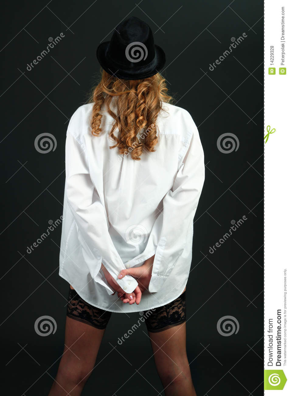 Girl Wearing White Shirt And Black Stockings Stock Photo ...