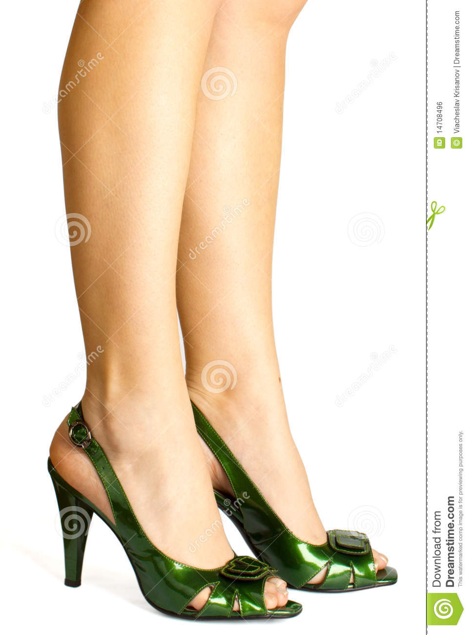 Sexy Green Leather High Heels Stilettos Shoes Royalty Free Stock