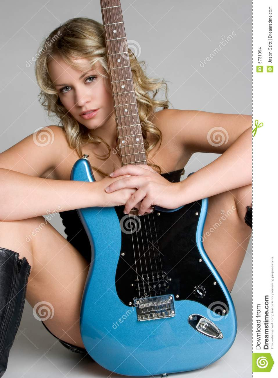 Completely naked the Hot girls guitar playing