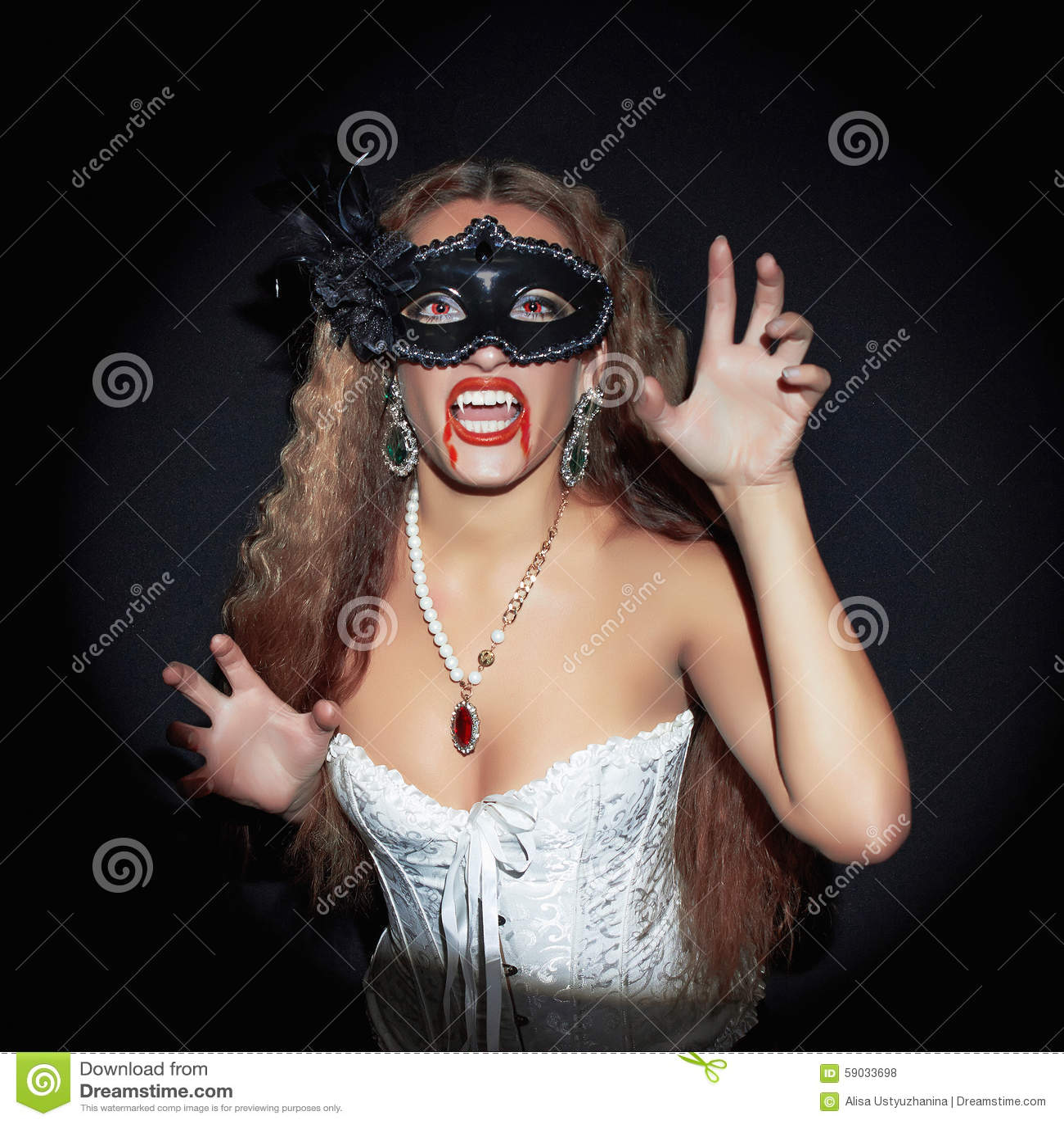 Halloween Vamp Girl In Mask Stock Photo - Image: 59033698