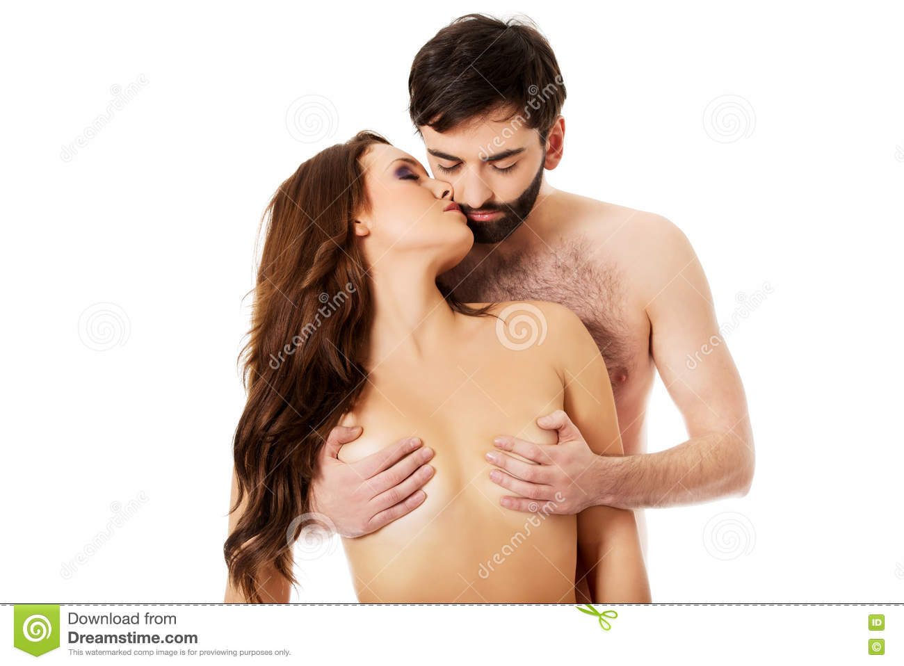 A man kissing breast