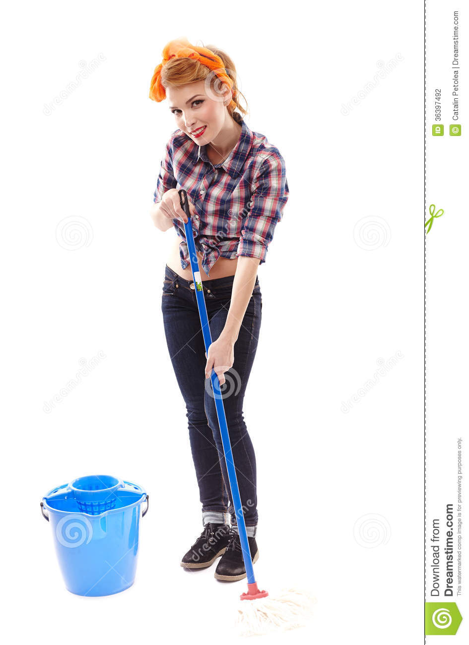 Housewife Washing The Floor With A Mop Stock Photography