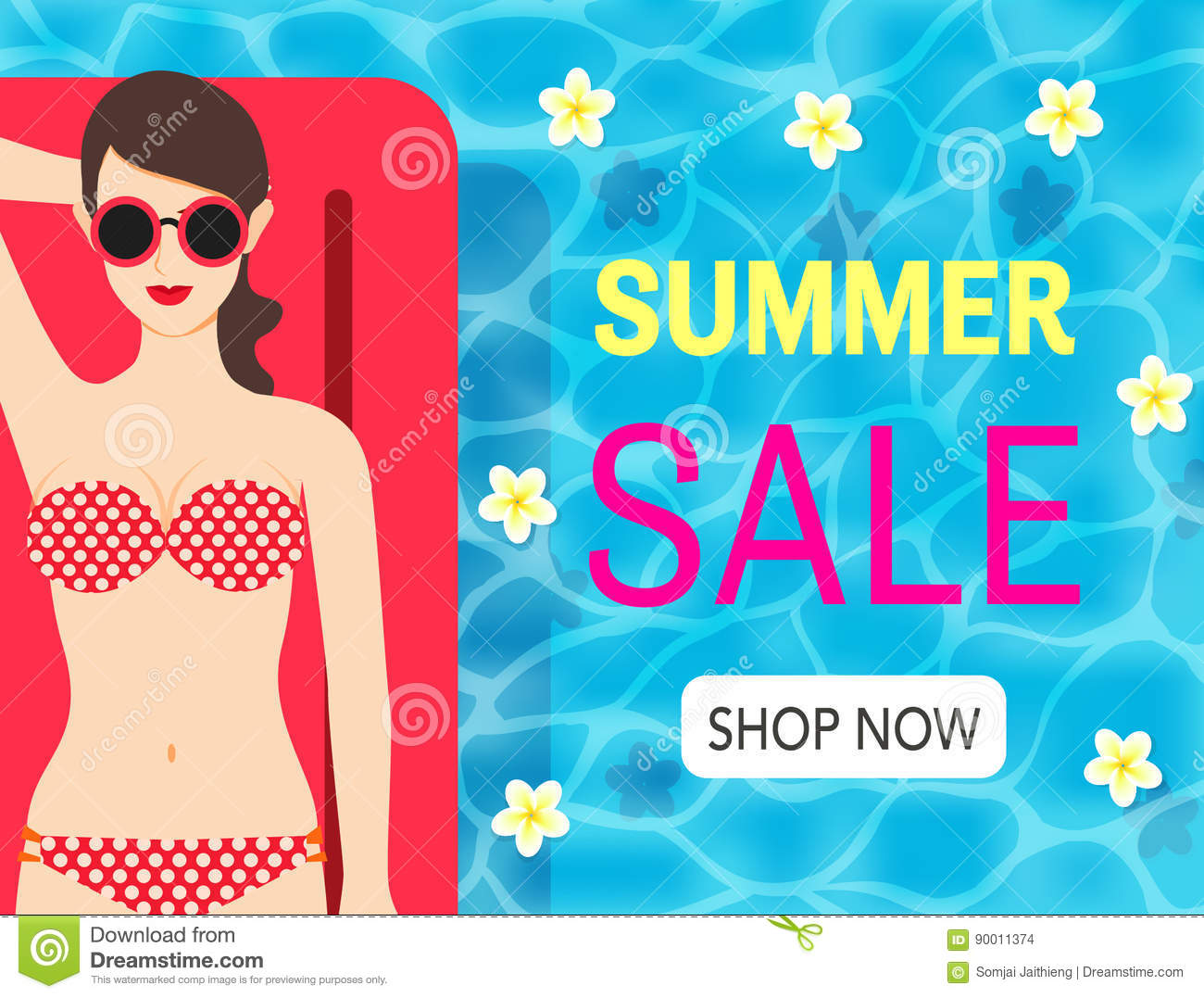 Lady Enjoy Her Summer Holiday On The Pool And Online Shopping ...