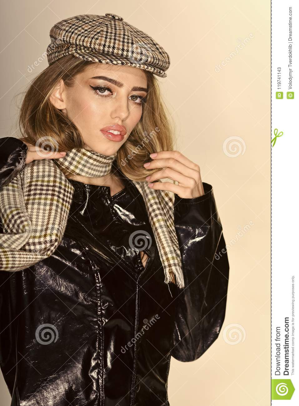 a6689a5152b lady in fashionable outfit. Fashion accessories concept. Girl with long hair  and make up wears black cloak
