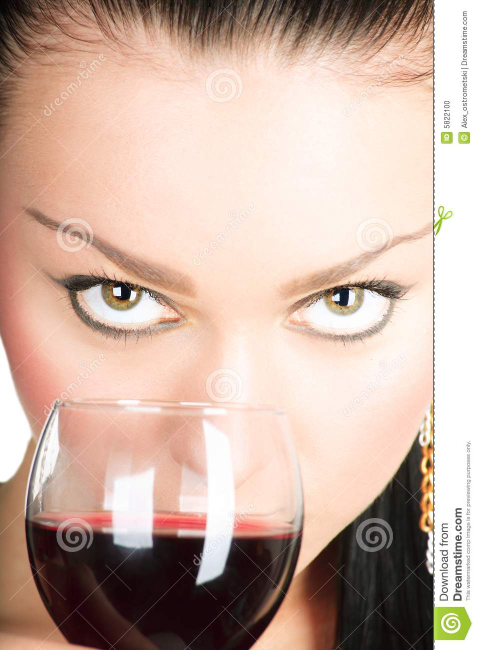 Sexy Lady With A Glass Of Red Wine Stock Photo Image