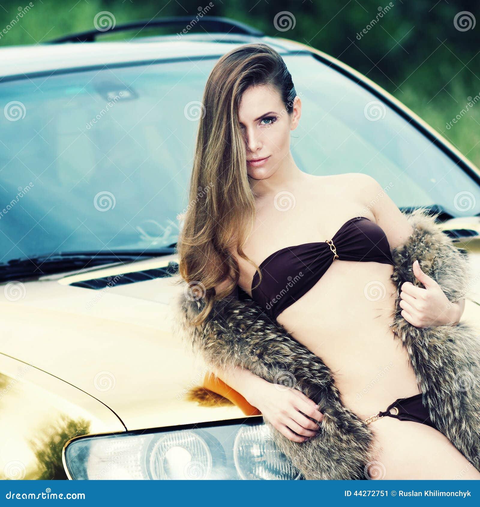 Woman With Beautiful Body In Bikini At Beach Stock Image: Lady Near The Golden Car Stock Image. Image Of Body