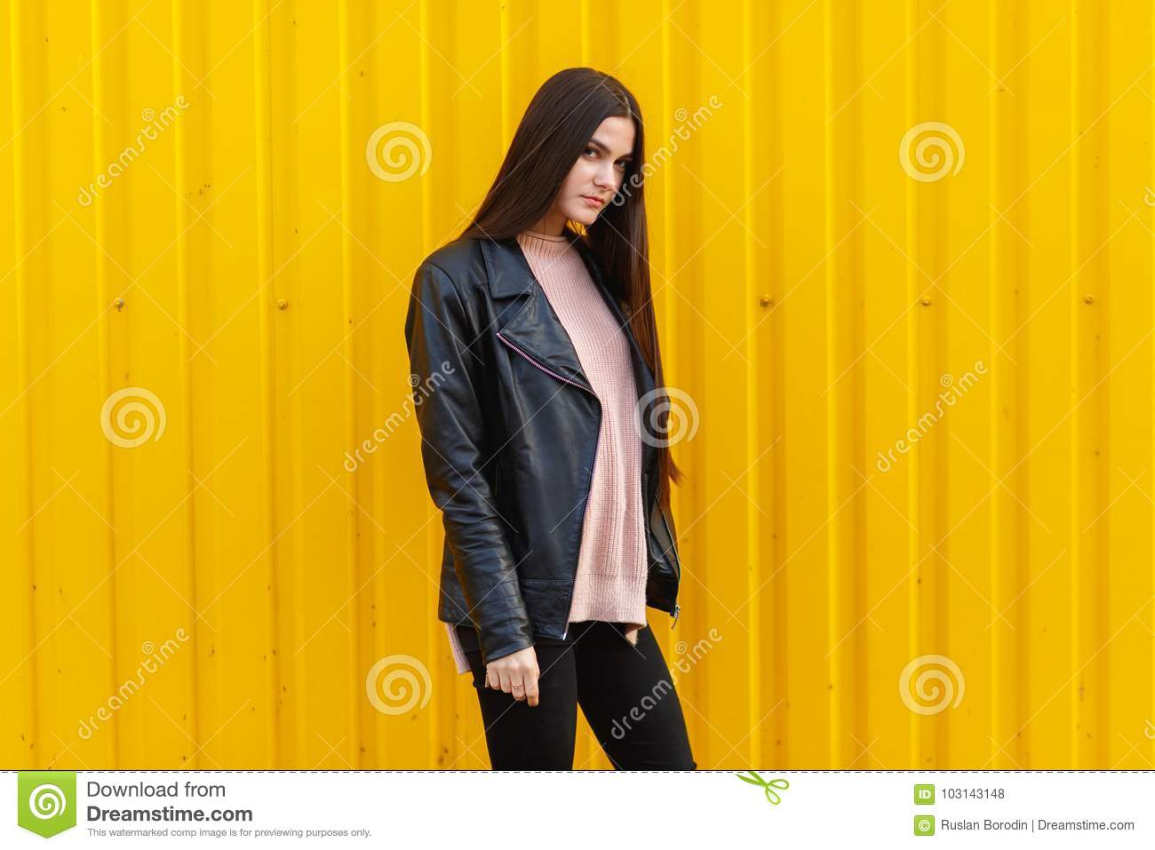 22d8a27e8 Lady Posing On Yellow Building Background Stock Photo - Image of ...