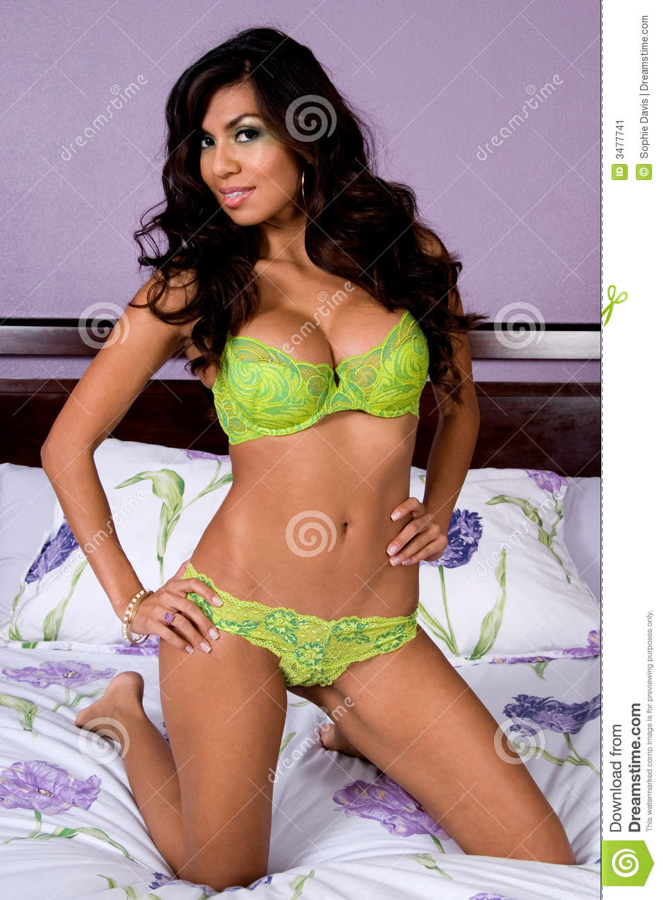 latina in green lingerie stock image. image of hispanic - 3477741