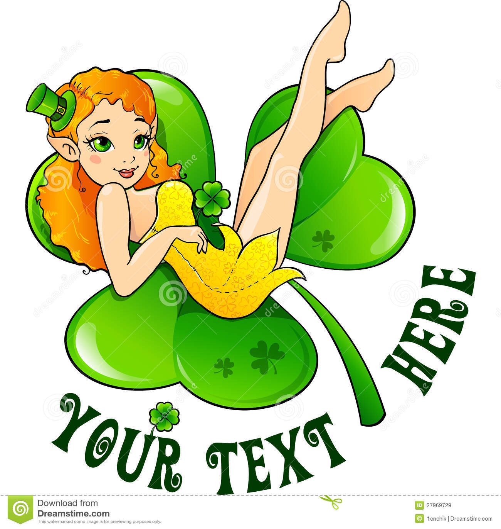leprechaun on big green clover leaf royalty free stock images