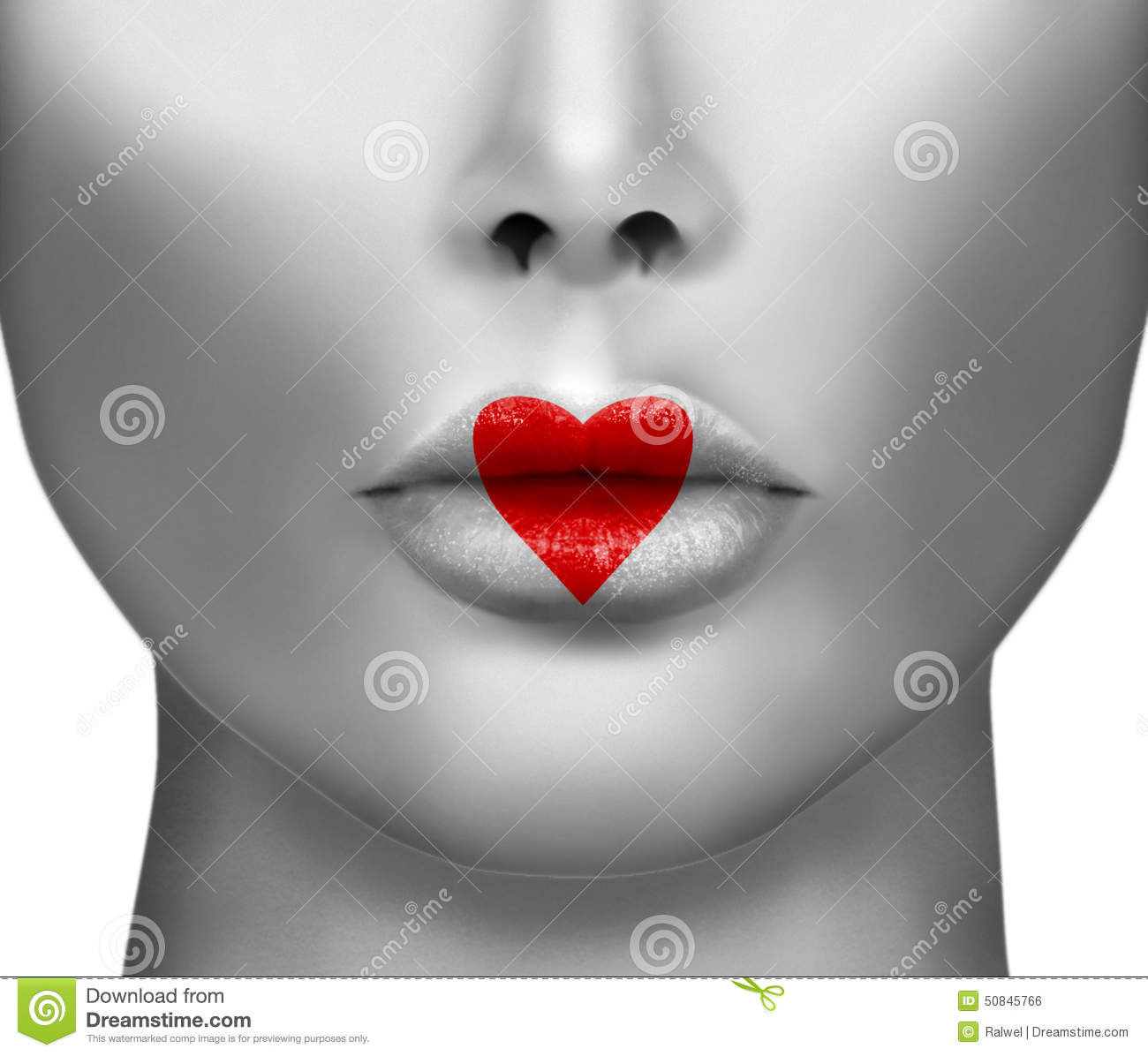 Kiss And Makeup Day: Sexy Lips With Heart Shape Stock Photo
