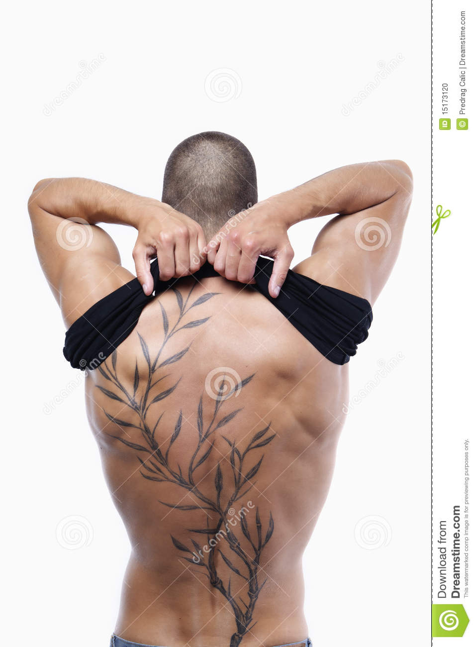 male s back with tattoo