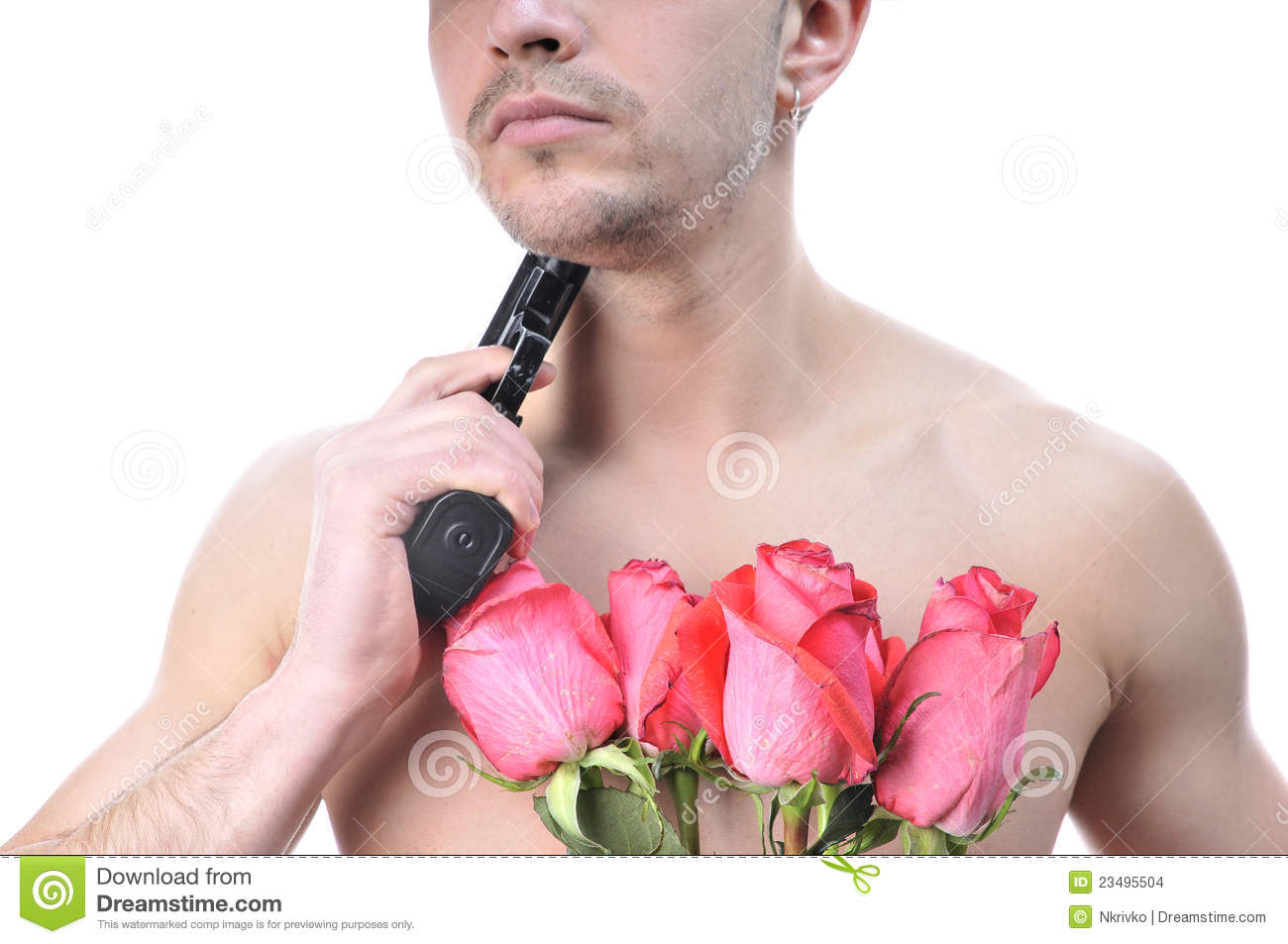 y Man With Gun And Flowers Stock Image