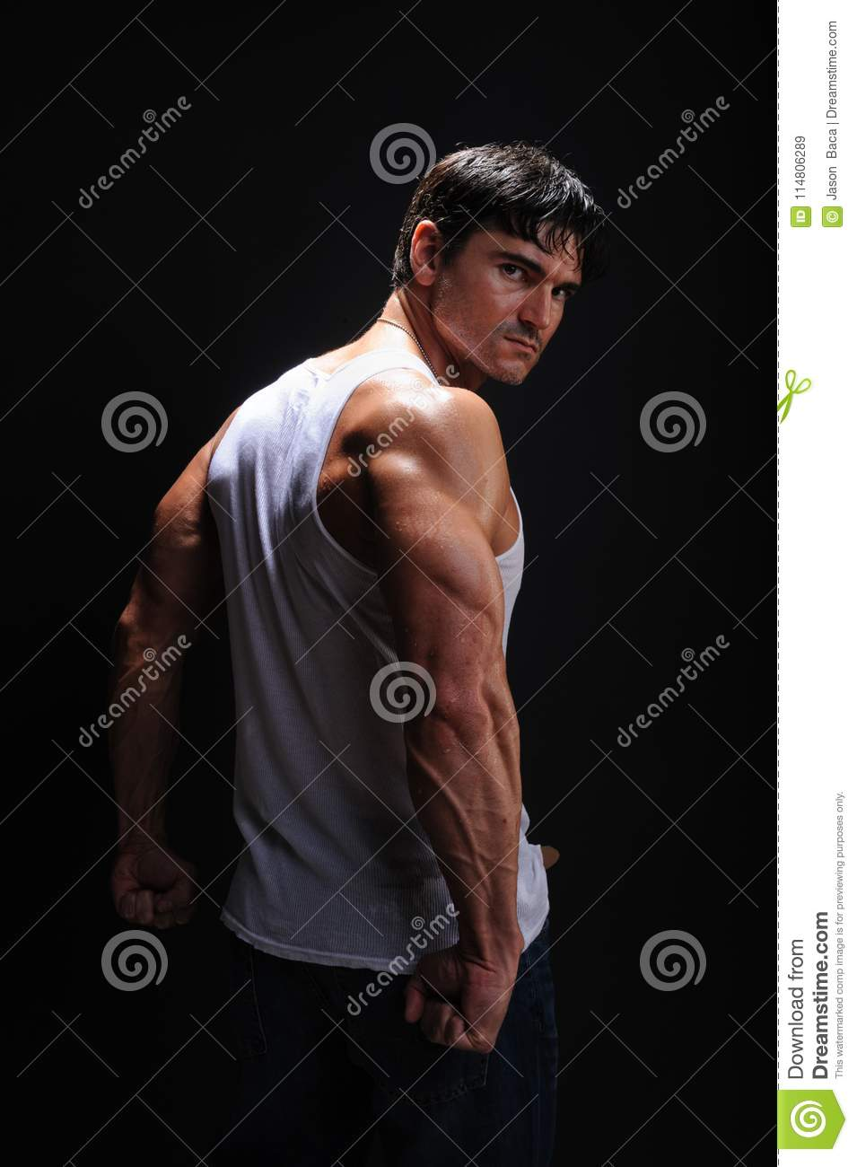 The Man Is Preparing For The Epic Battle Stock Image Image Of