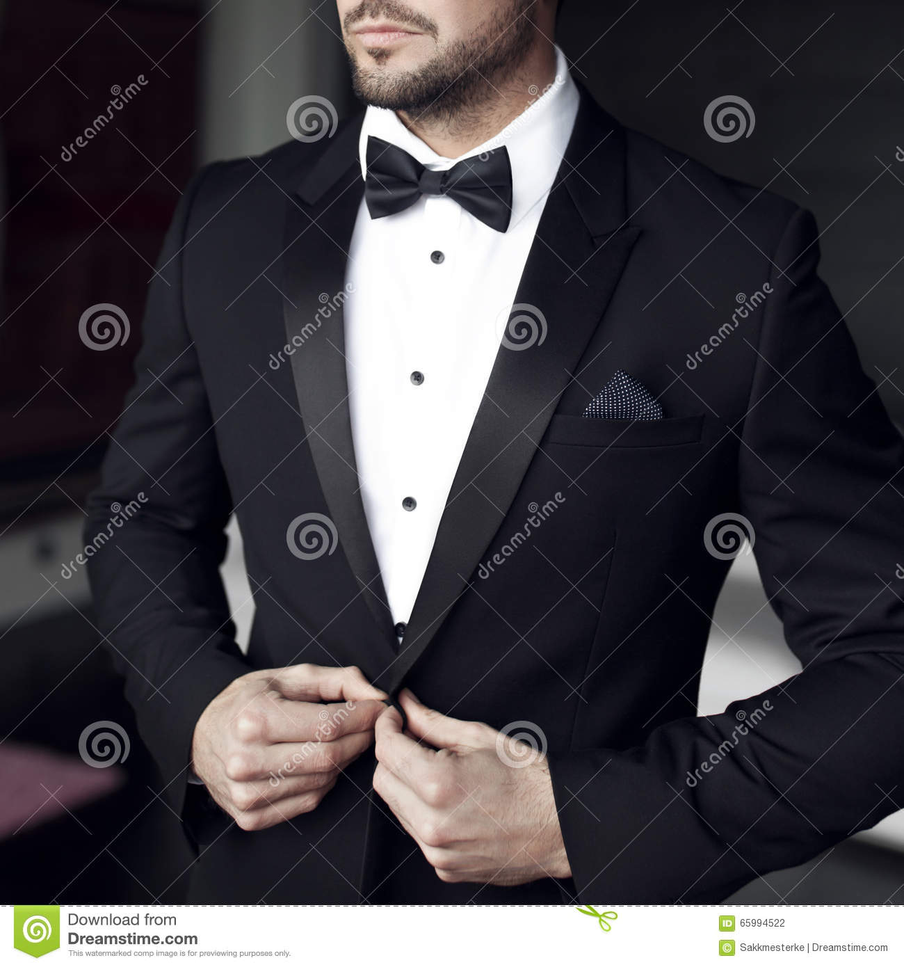 Man In Tuxedo And Bow Tie Stock Photo