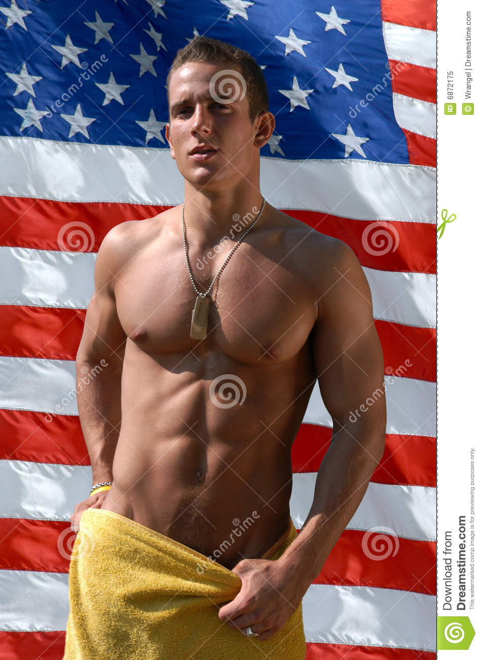 Man Wrapper with Towel with US Flag Behind