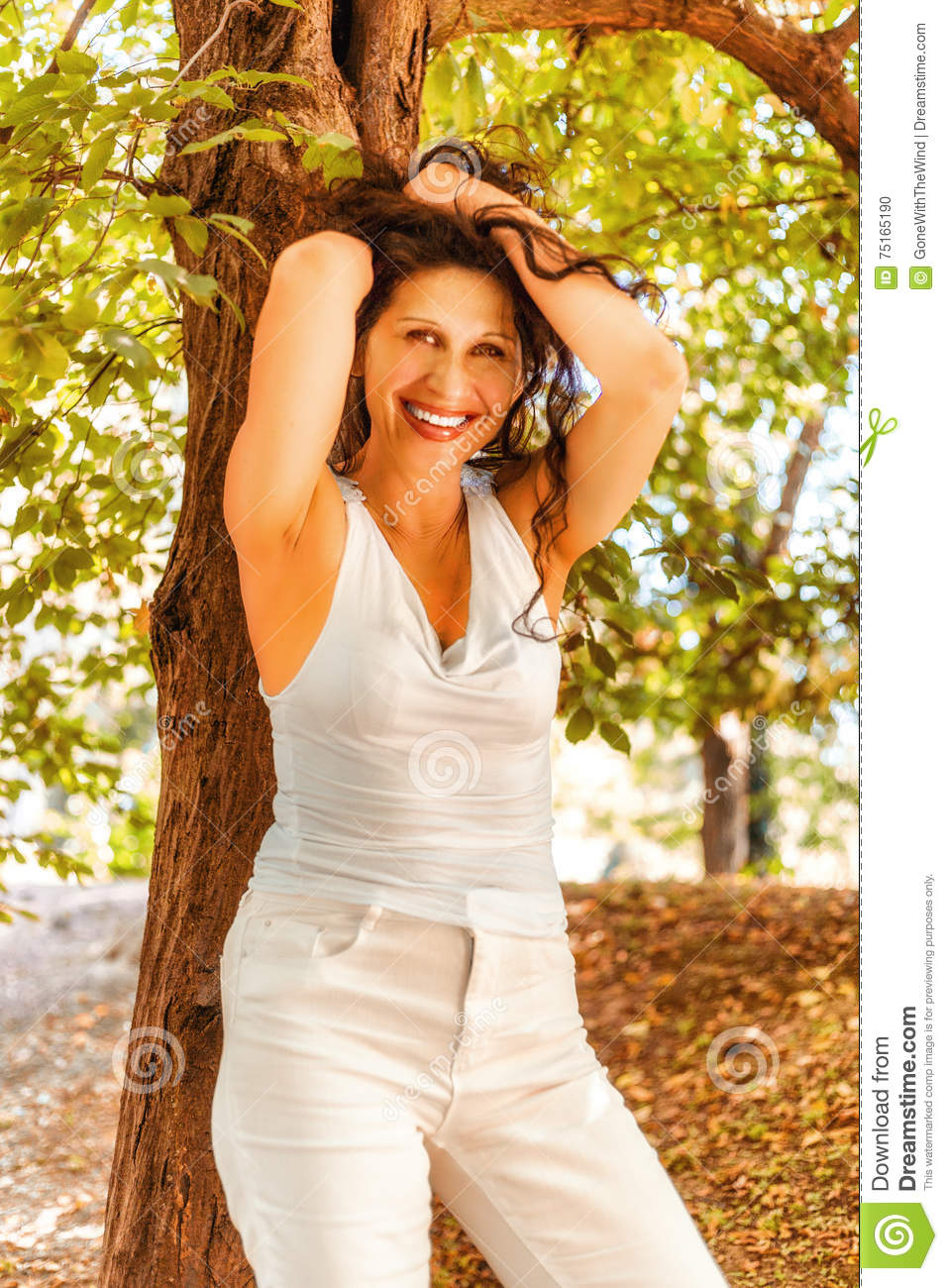 Mature Woman Putting Up Her Hair Stock Photo - Image Of Leaning, Background 75165190-6114