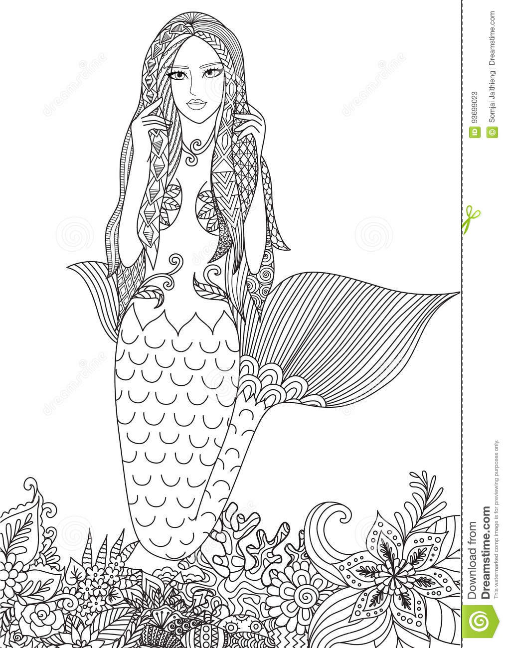 Mermaid Stock Vector Illustration Of Fantasy Lines